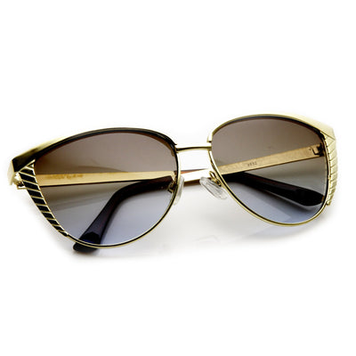 Trendy Womens Oversize Metal Engraved Cat Eye Sunglasses 9326