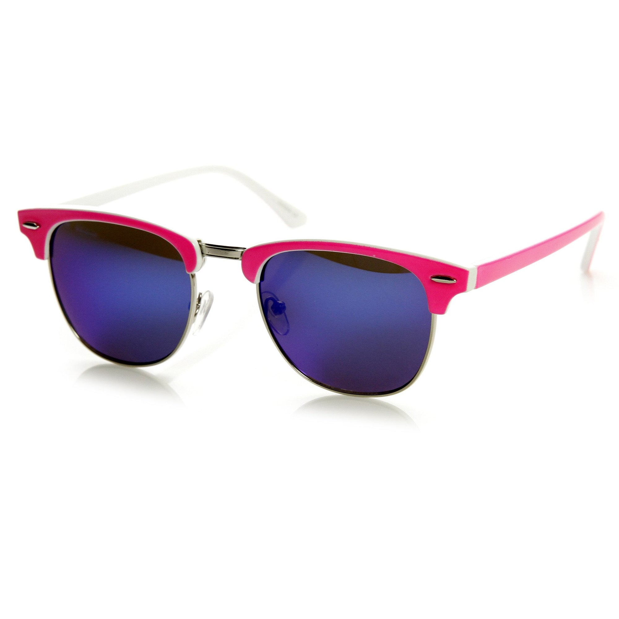 018fa65634 Neon Retro Half Frame Horned Rim Mirror Lens Sunglasses 9333