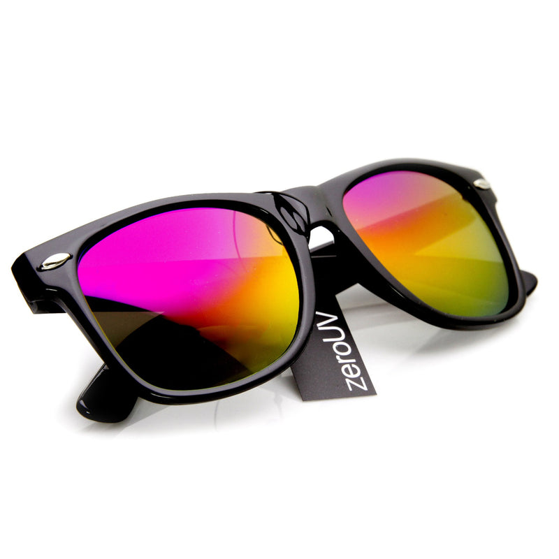 Retro Matte Black Horned Rim Flash Colored Lens Sunglasses 8025