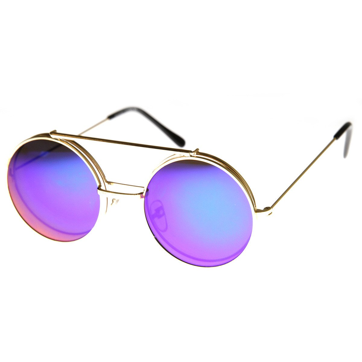 310c386b21f Retro Round Circle Steampunk Flip Up Revo Sunglasses - zeroUV