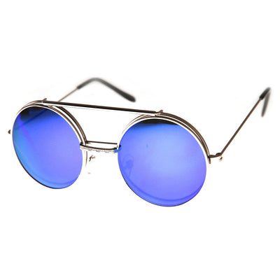 6533e1c3461 Retro Round Circle Steampunk Flip Up Revo Sunglasses - zeroUV