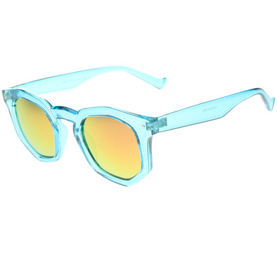 Retro Geometric Colorful Translucent Hexagon Sunglasses A248