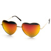 Women's Heart Shape Metal With Mirrored Lens Sunglasses 9436