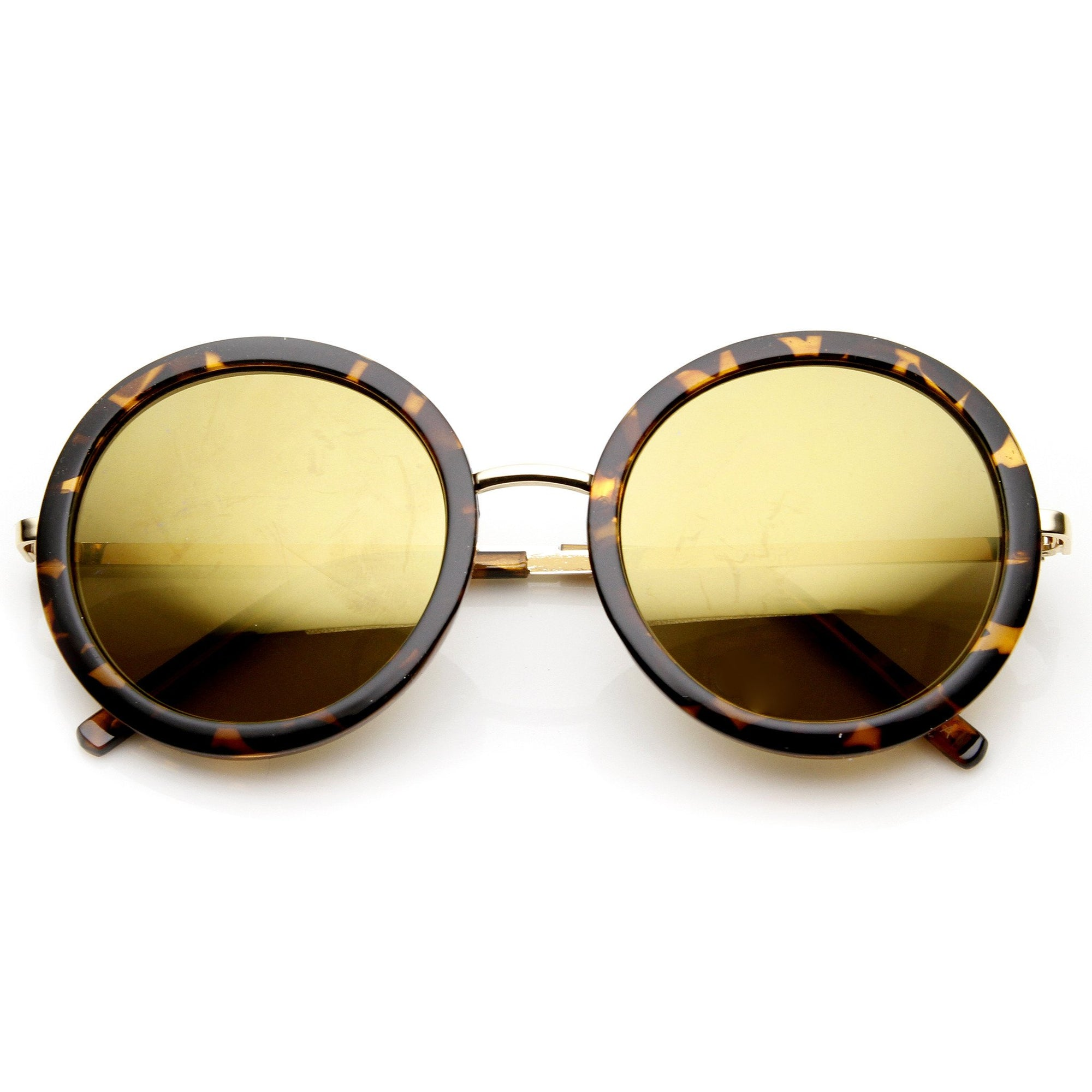 46a09a5cd0a Women s Glam Mirrored Lens Round Fashion Sunglasses 9226