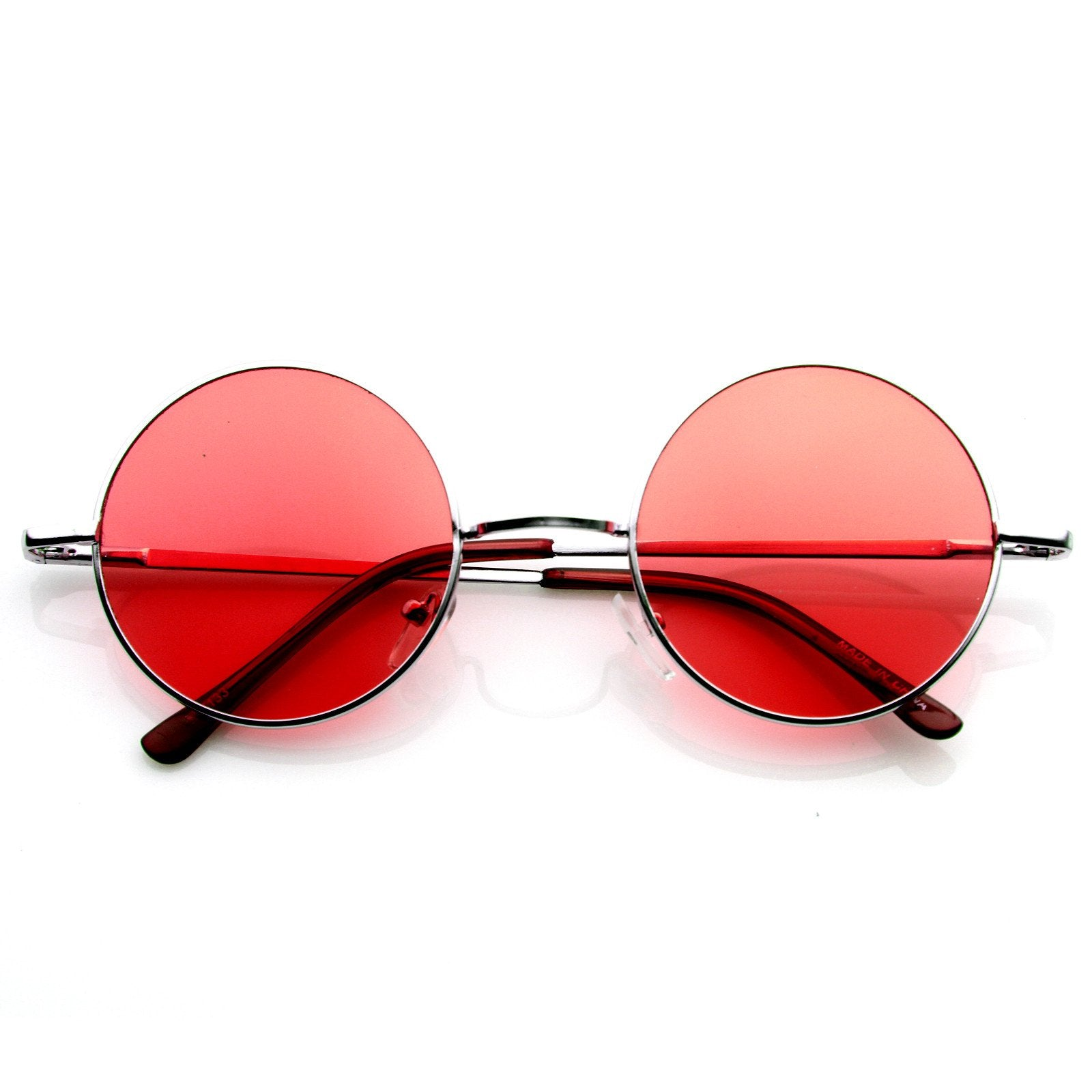 8df58267daf Retro Hippie Metal Lennon Round Color Lens Sunglasses 8594 · Silver Purple  · Silver Red