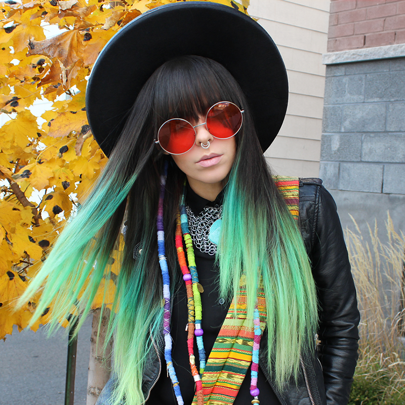 Indie Festival Hippie Oversize Round Colorful Lens Sunglasses