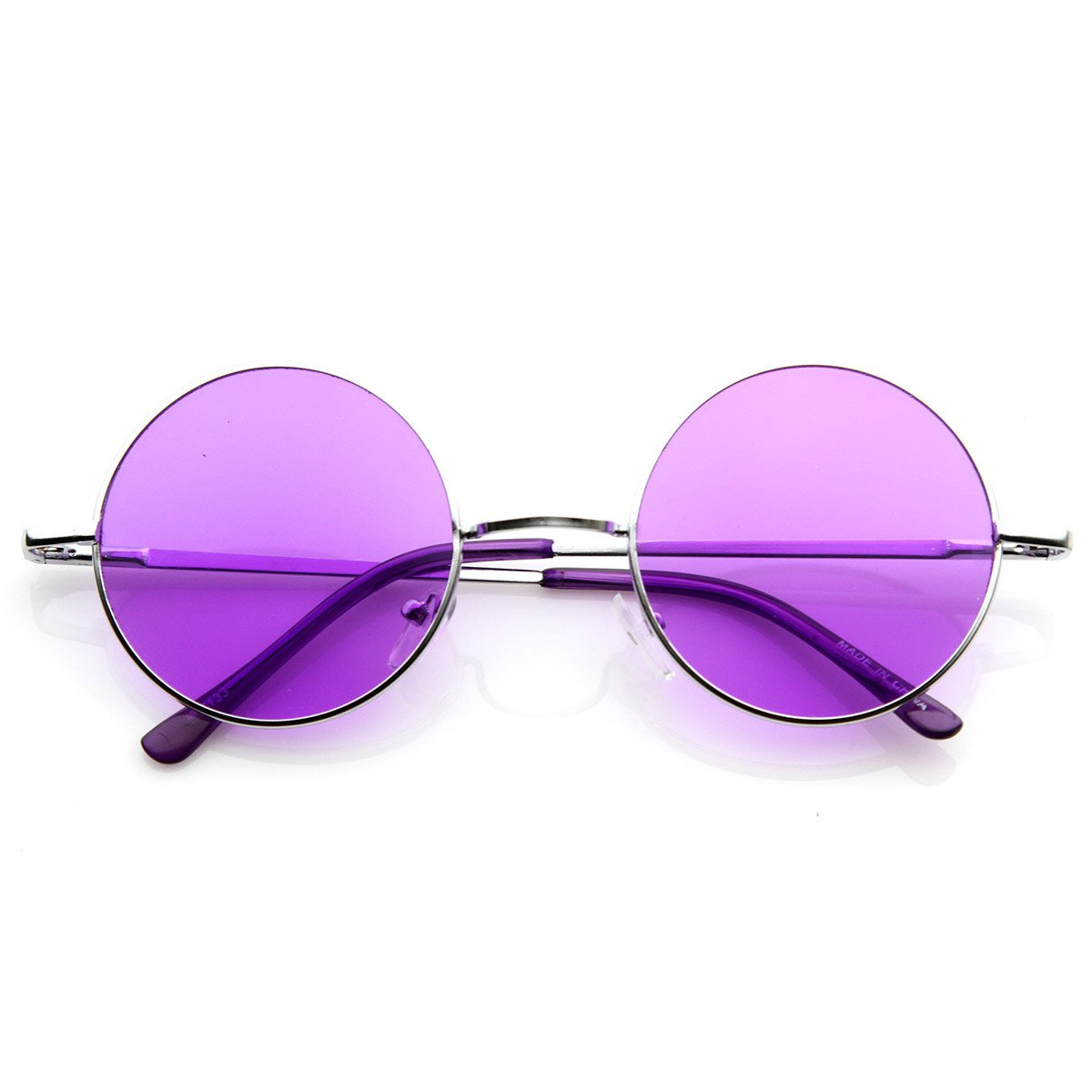 8594a9c0099 Retro Hippie Metal Lennon Round Color Lens Sunglasses 8594