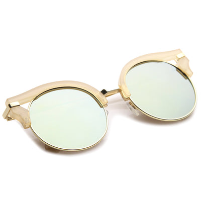 Women's Round Half Frame Flat Lens Cat Eye Sunglasses A153