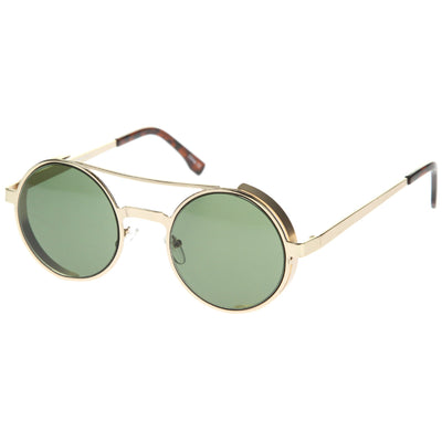 Retro Euro Steampunk Side Cover Round Metal Sunglasses A052