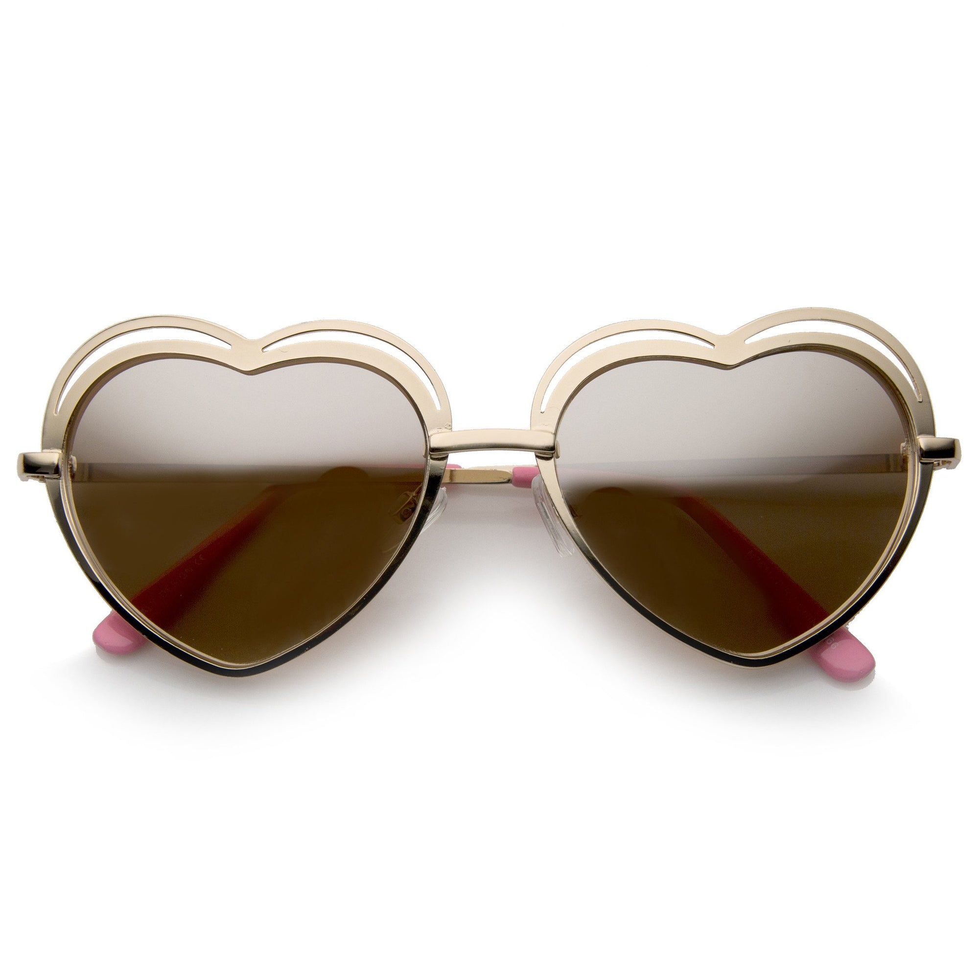 26c354bf2ac ... Heart Shape Laser Cut Sunglasses A299 · Gold Pink Mirror