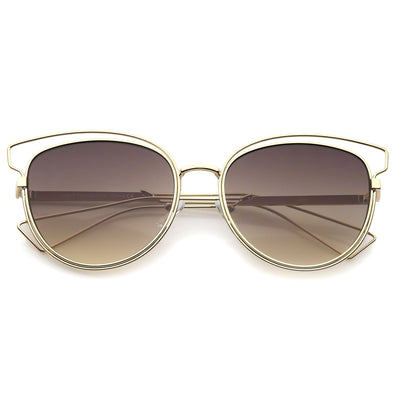 Women's Metal Wire Frame Flat Lens Sunglasses A345