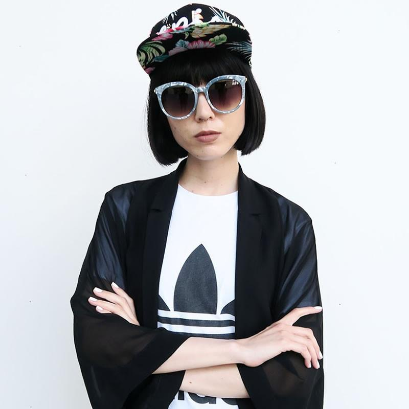 Women's Oversize Round Marble Cat Eye Sunglasses