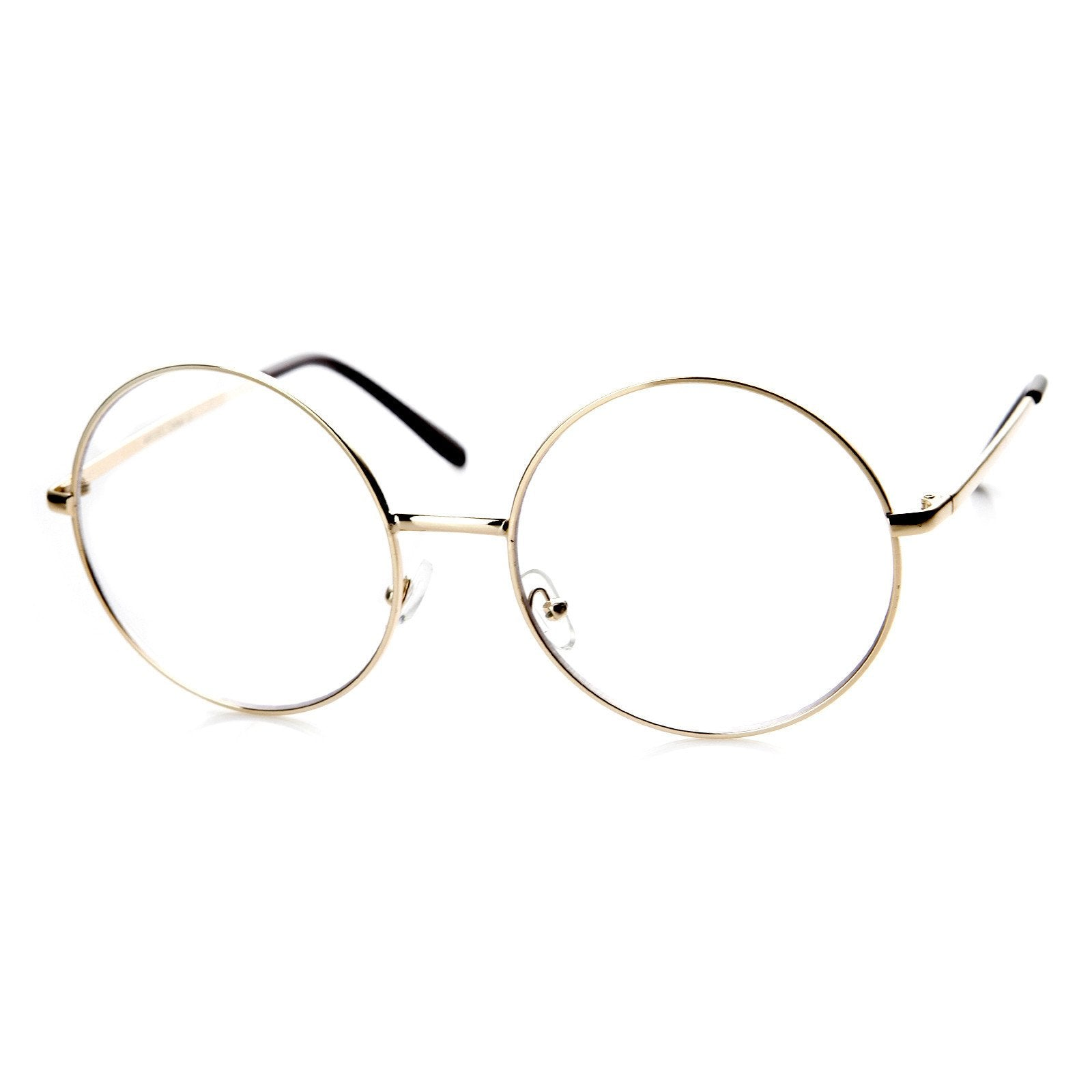 e5a9b8e5874 Vintage Extra Large Round Metal Clear Lens Glasses - zeroUV