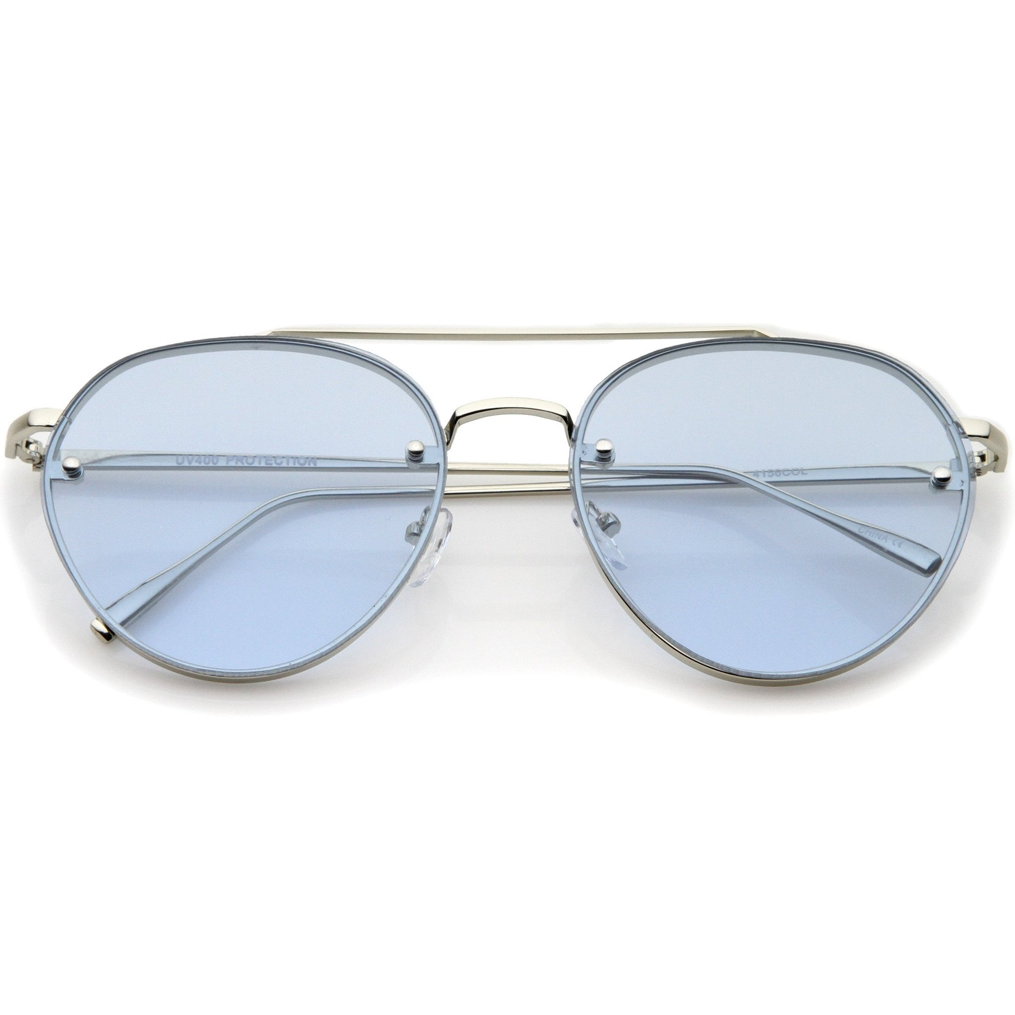 63ed0667934 Retro Modern Rimless Flat Color Lens Aviator Sunglasses A826