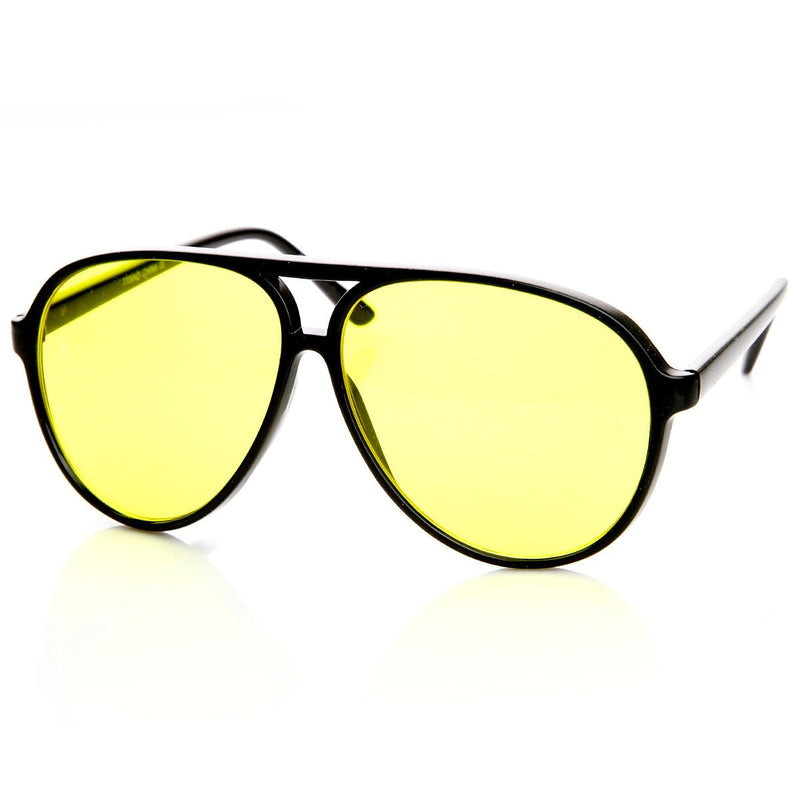 Retro 1980's Fashion Plastic Aviator Yellow Driving Lens Sunglasses 8805