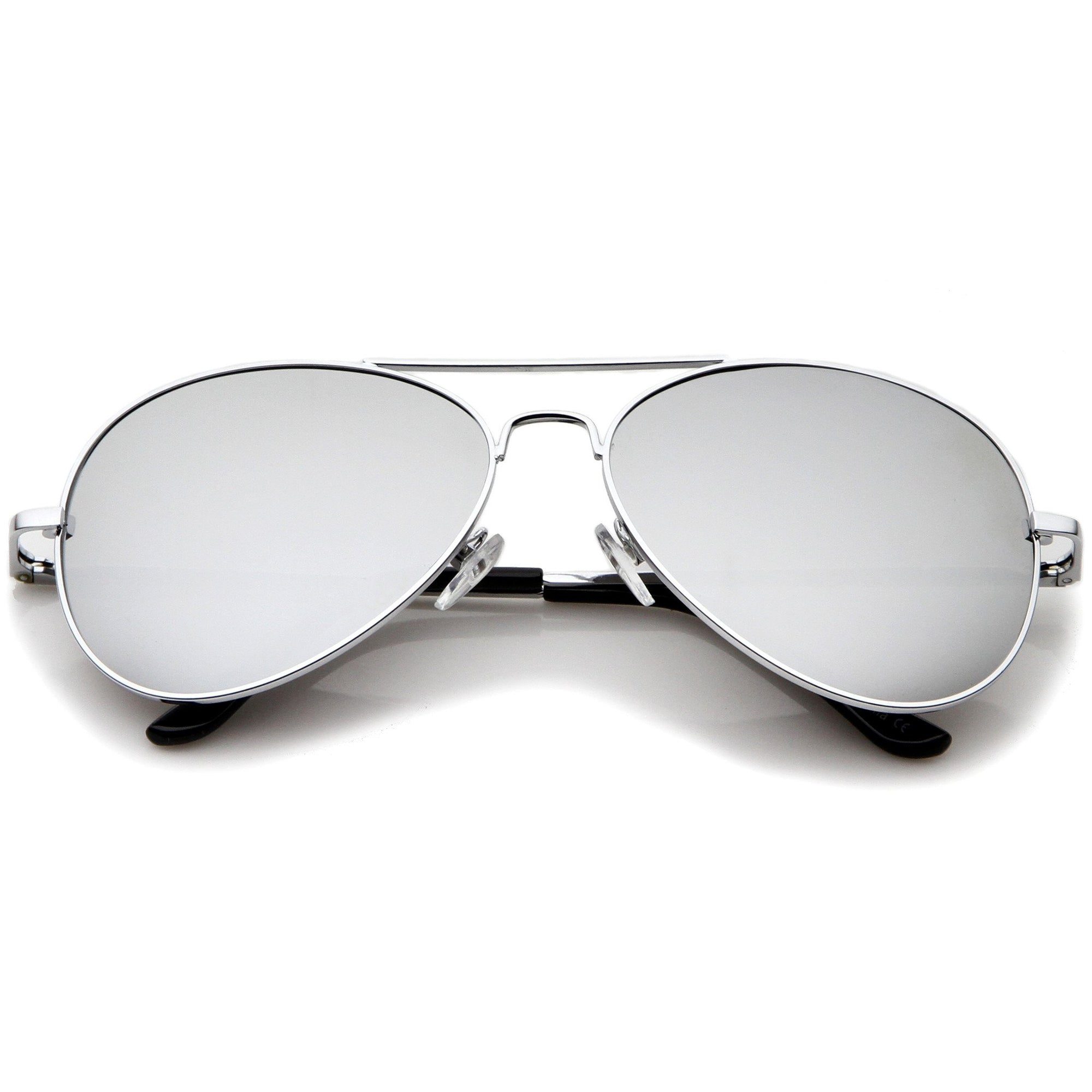 5c2109899b ... Mirrored Lens Metal Aviator Sunglasses 1375 58mm · Silver