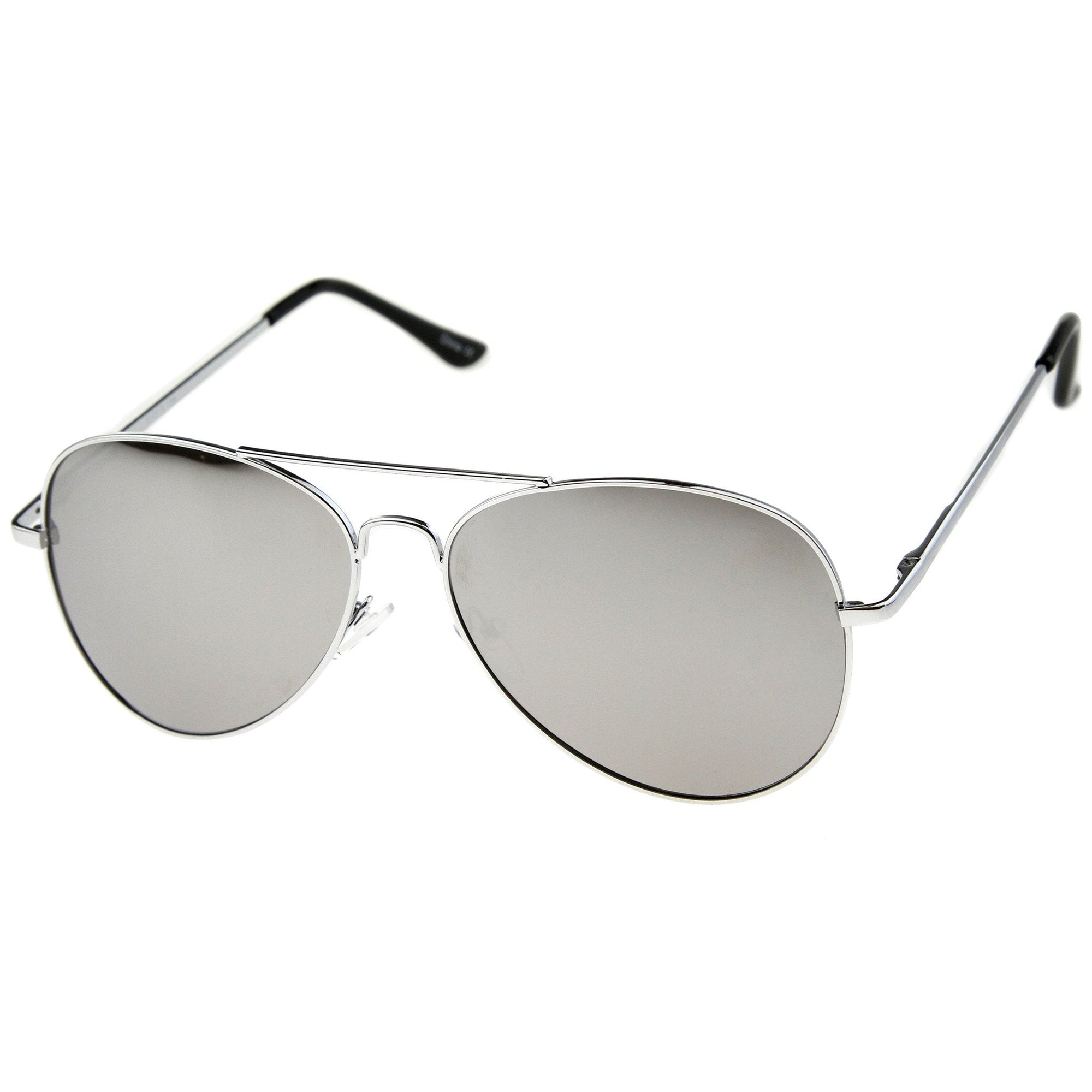 a5330bdcc5 Military Classic Mirrored Metal Aviator Sunglasses - zeroUV