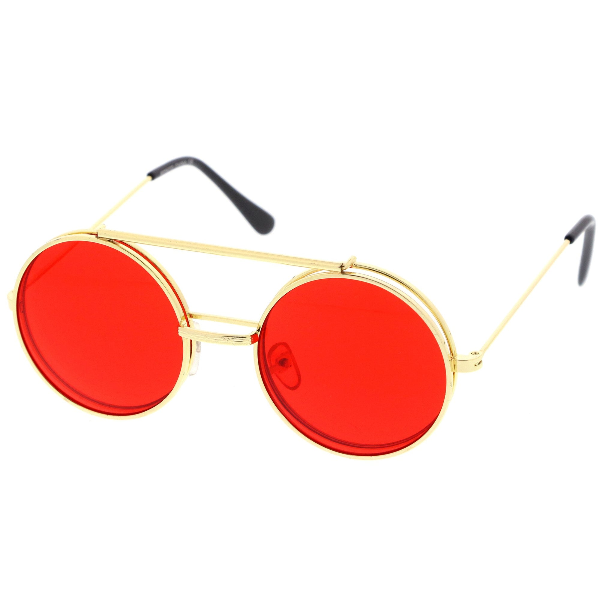 6b91debb2fd ... Circle Round Flip Up Vintage Sunglasses 8793 · Gold Red · Gold Red