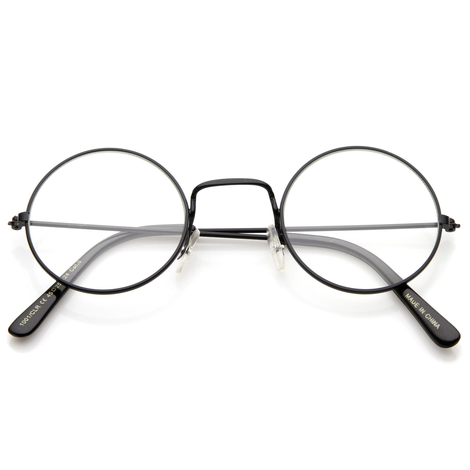13cbee23b53 ... Vintage Inspired Round Metal Frame Clear Lens Glasses 9637 · Black Clear