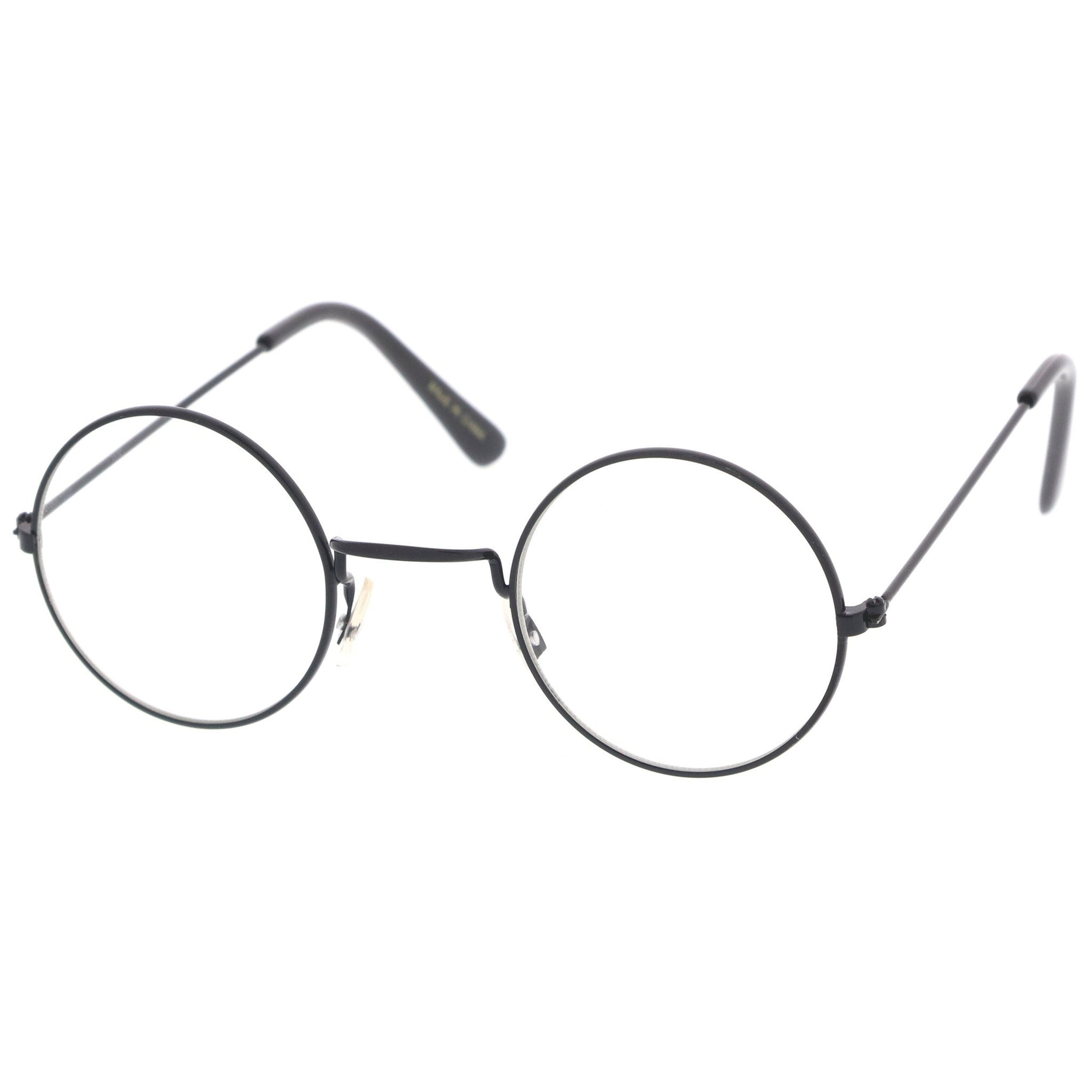 985a35d4384 ... Vintage Inspired Round Metal Frame Clear Lens Glasses 9637 · Black Clear  · Black Clear