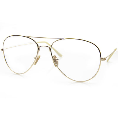 cafe805b45 Retro metal aviator sunglasses with clear lens glasses zerouv jpg 400x400 Gold  clear glasses