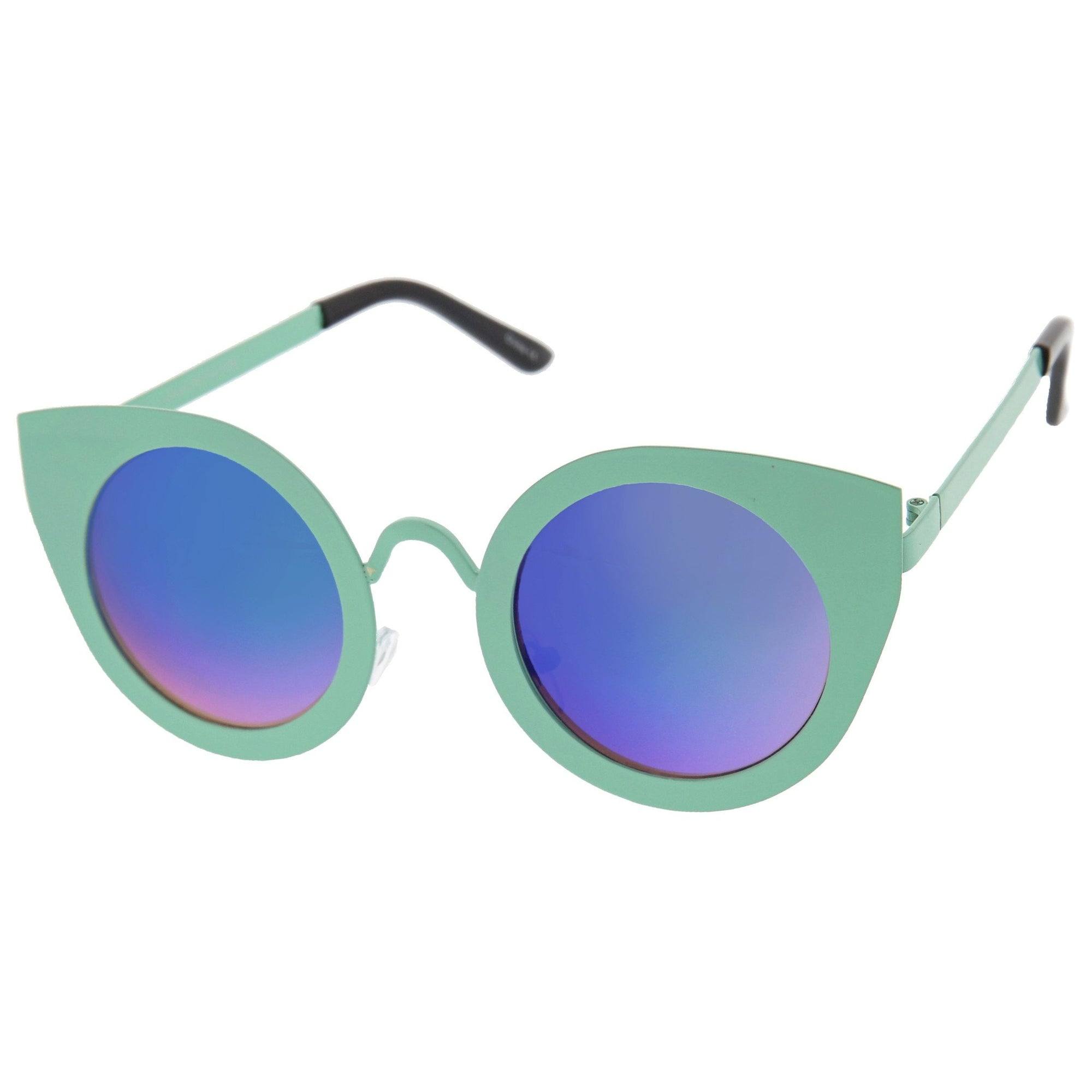 f1fe25060 Women's Multi Color Mirrored Lens Round Cat Eye Sunglasses - zeroUV
