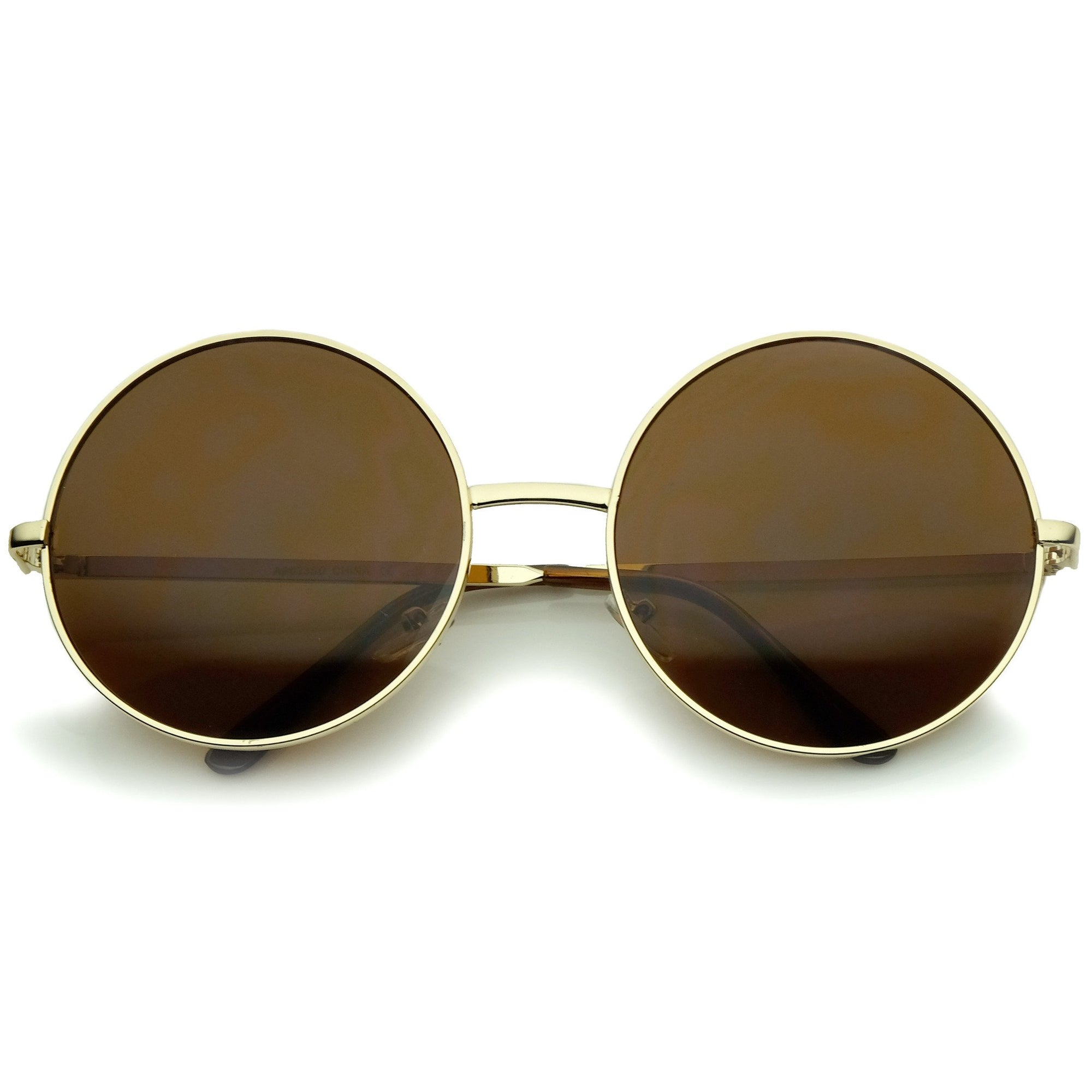 c4900d780 ... Vintage Inspired Metal Round Circle Sunglasses 8370 · Gold Brown