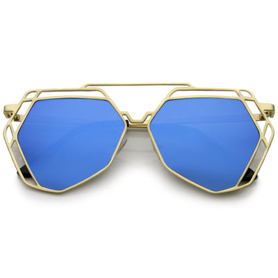 Matte Gold Blue Mirror