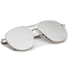Oversize Thin Metal Mirrored Flat Lens Aviator Sunglasses A817