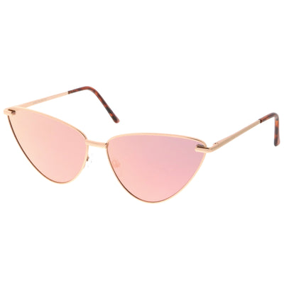 80f1989c120 Oversize Thin Cat Eye Mirrored Flat Lens Butterfly Frame Sunglasses ...