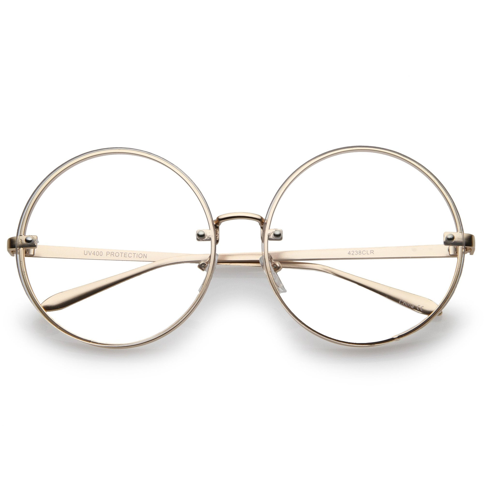 f5ba72b3853c ... Modern Oversize Infinity Round Clear Lens Glasses A896 · Gold Clear