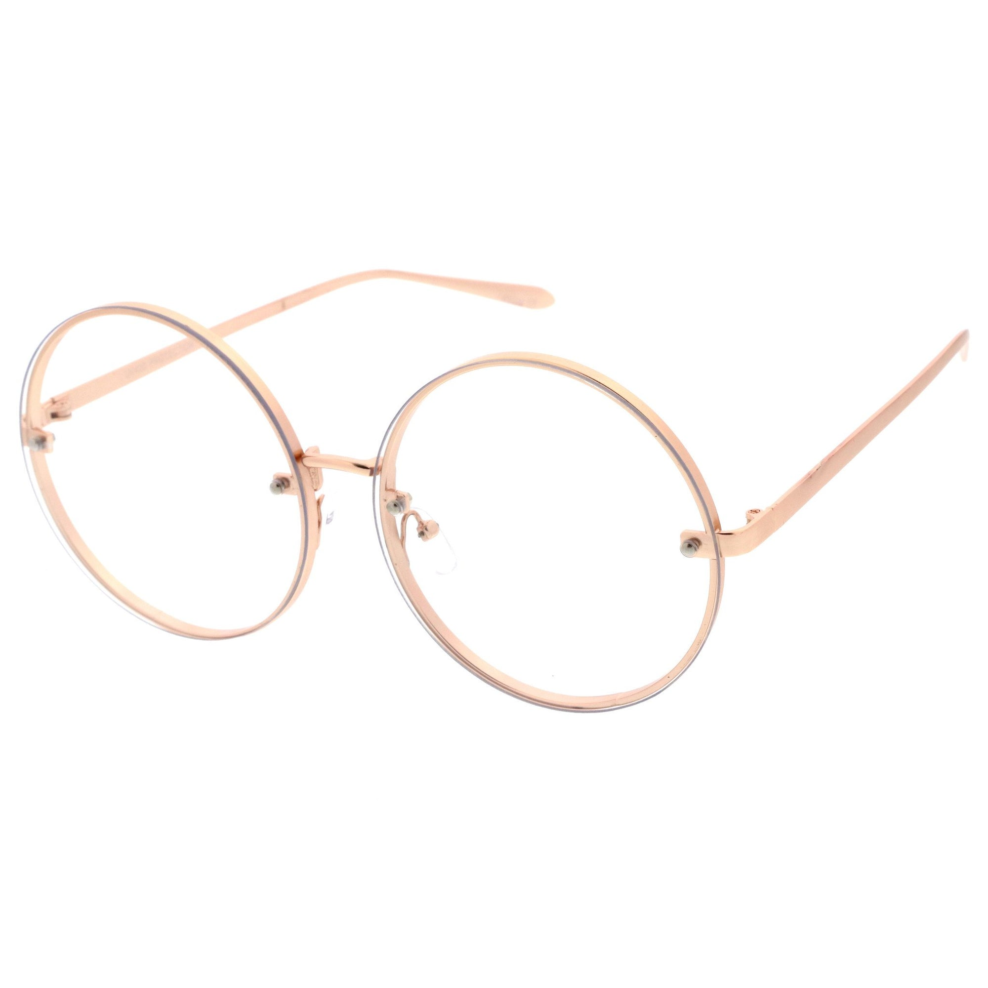 8f699905d648 ... Modern Oversize Infinity Round Clear Lens Glasses A896 · Gold Clear ·  Gold Clear