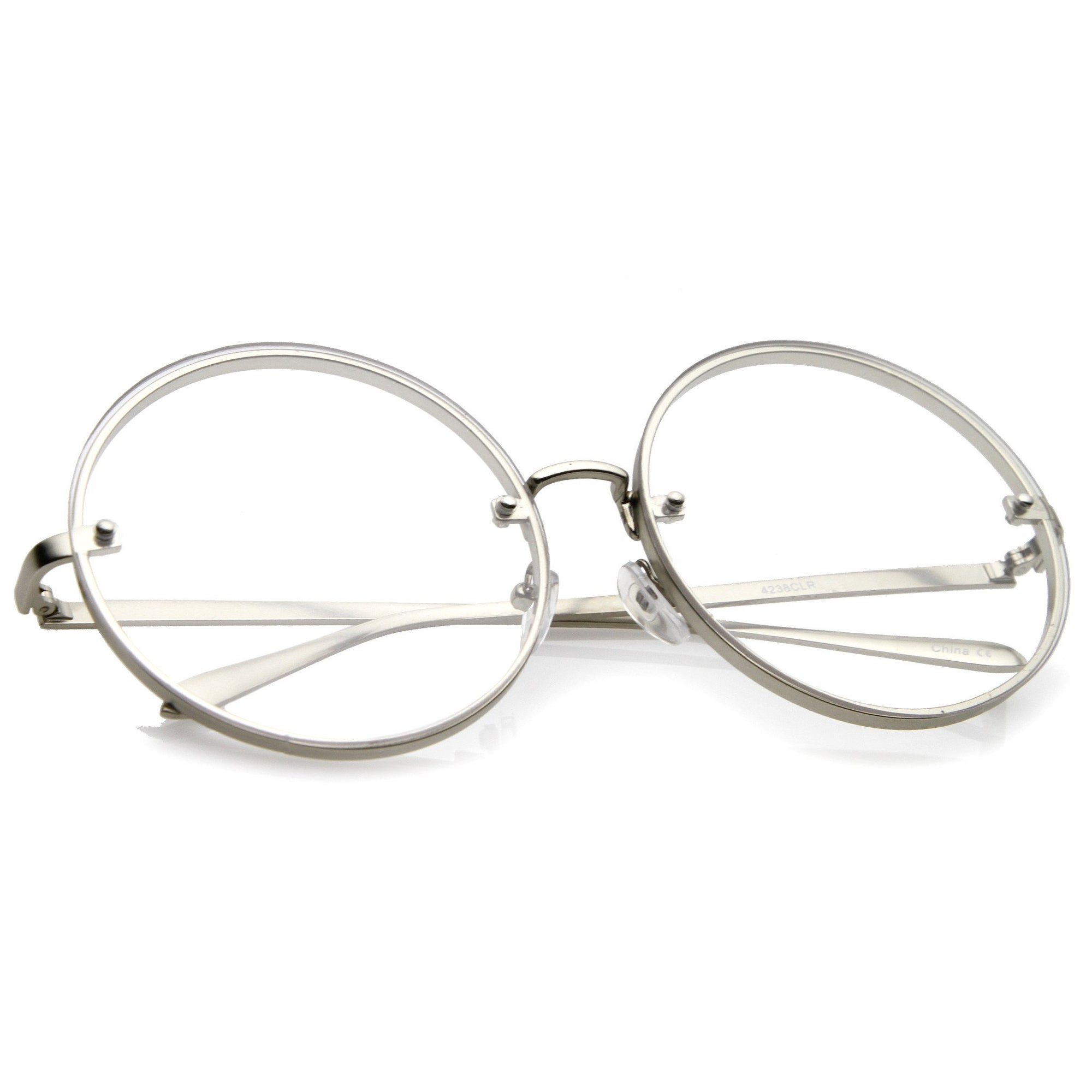 9f7f58fff427 Modern Oversize Infinity Round Clear Lens Glasses - zeroUV