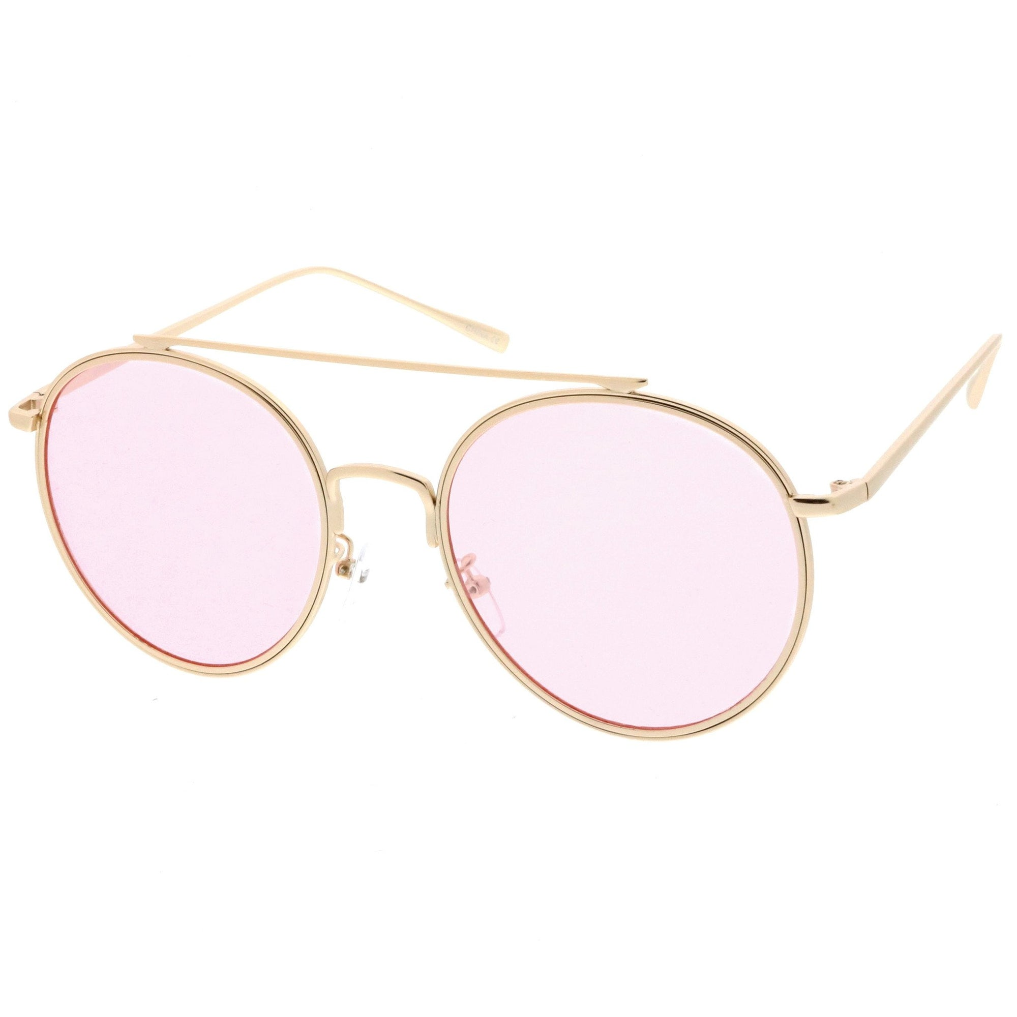 ea9f905d54f ... Modern Slim Round Color Tone Aviator Sunglasses A871 · Gold Pink · Gold  Pink