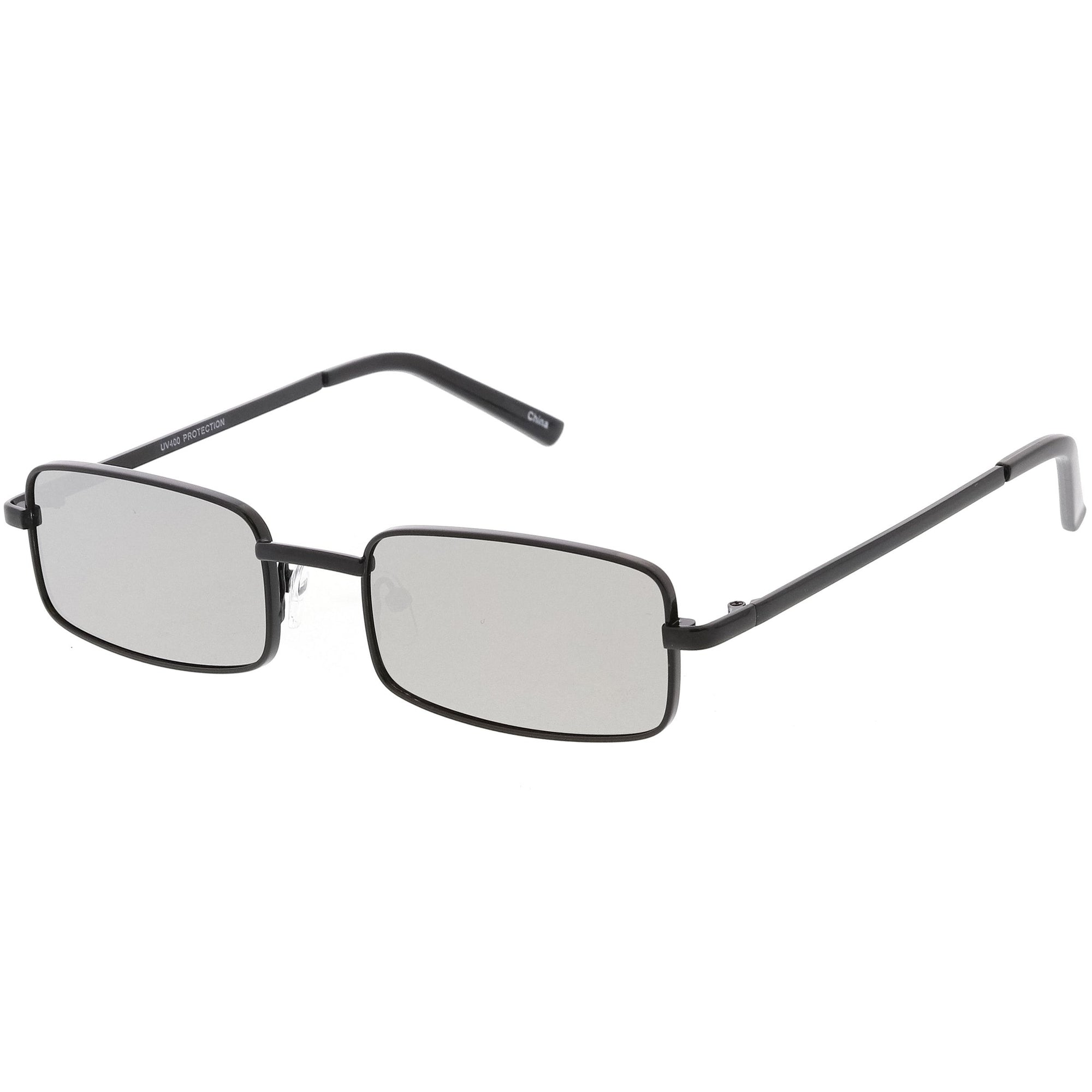 Sunglasses Small Mirrored Lens Flat Rectangle Retro Unisex C597 29IEHYWD
