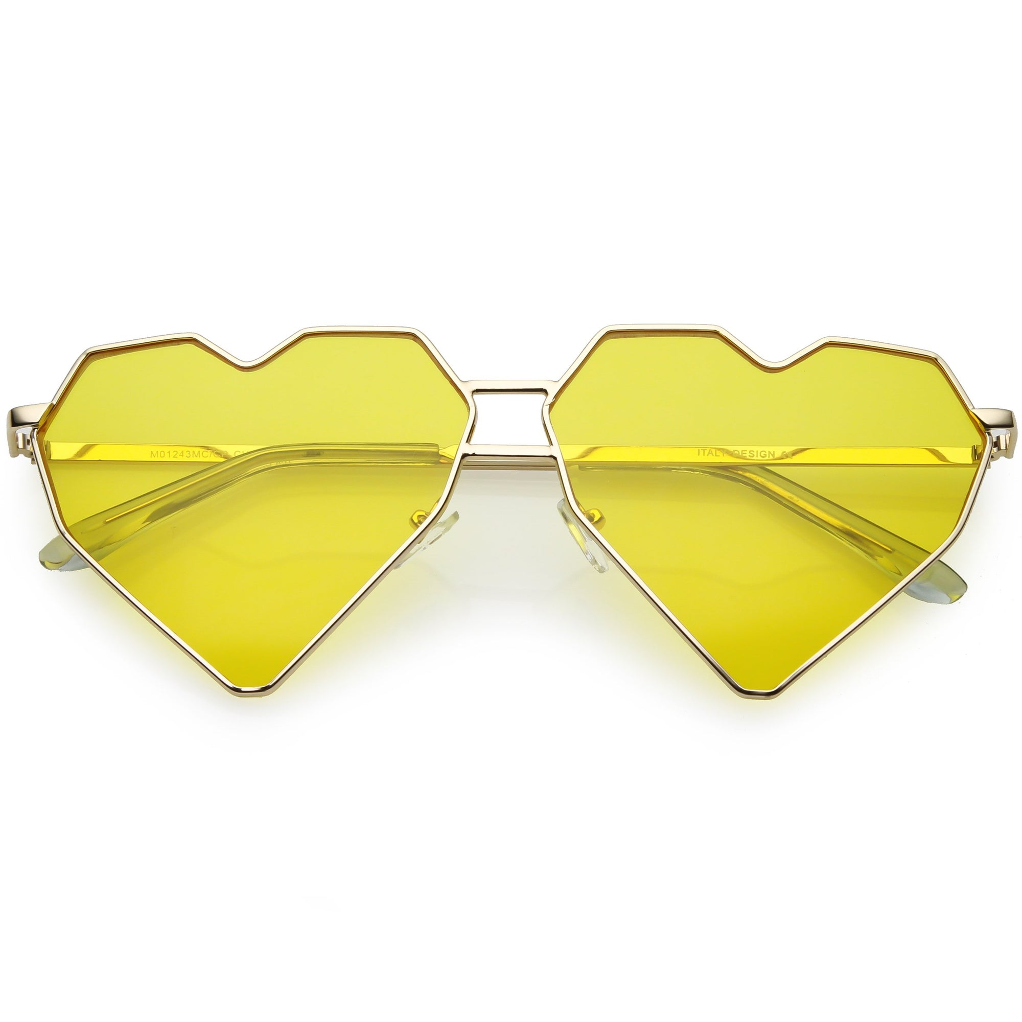 f2f7474e83 Women s Oversize Geometric Metal Heart Shape Sunglasses - zeroUV