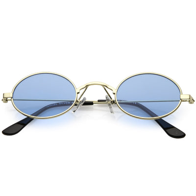 Retro 1990's Small Oval Color Tone Metal Sunglasses C616
