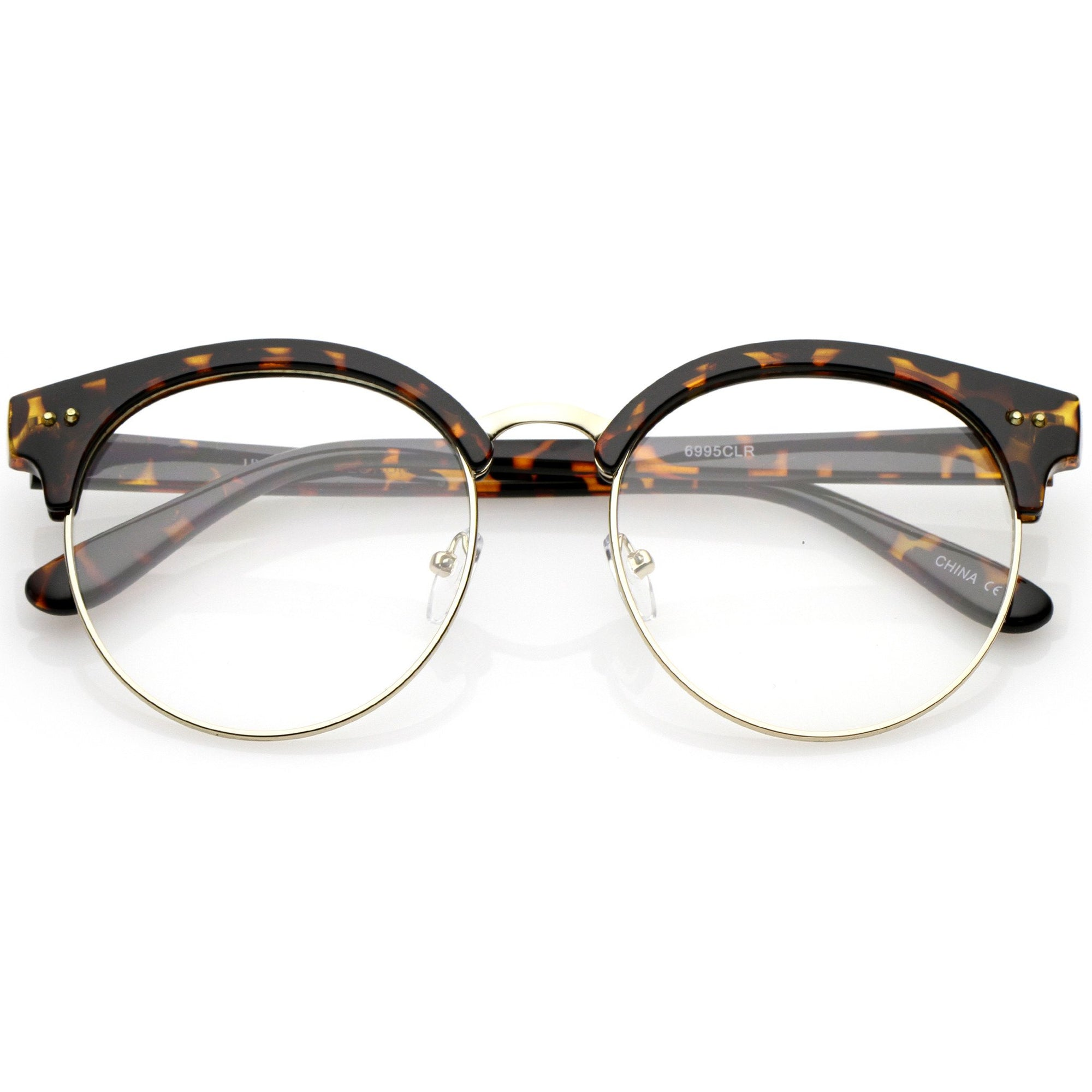 61f1048bbd ... Round Half Frame Clear Lens Cat Eye Glasses C023 · Tortoise Gold Clear