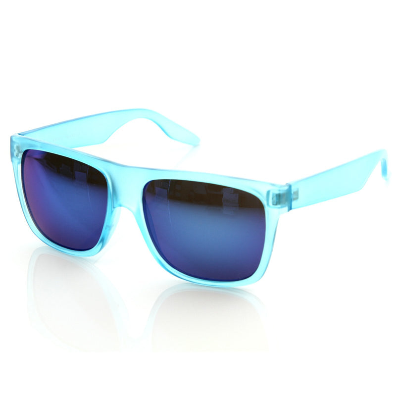 Frosted Retro Flat Top Candy Color Mirrored Lens Sunglasses 8610