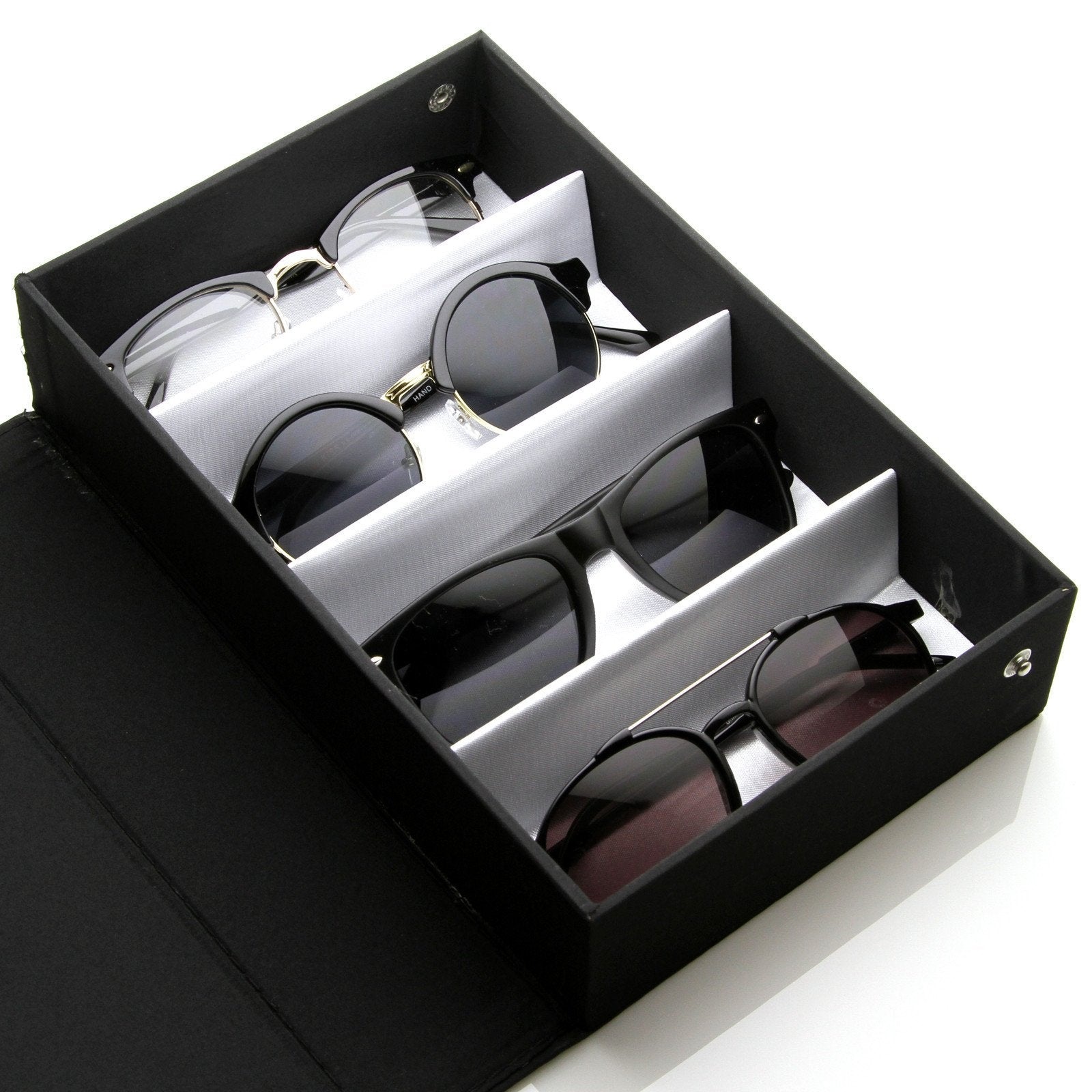 Vinyl Display Eye Wear Sunglasses Travel Carrying Case 4 Piece 1013