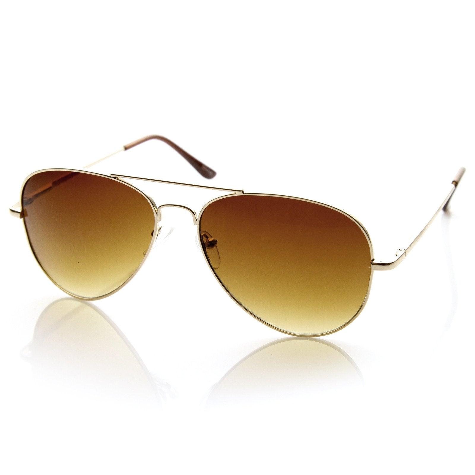 ffe700fb9e ... Large Premium Metal Aviator Sunglasses W  Spring Temples 1377 · Gold  Amber · Gold Amber