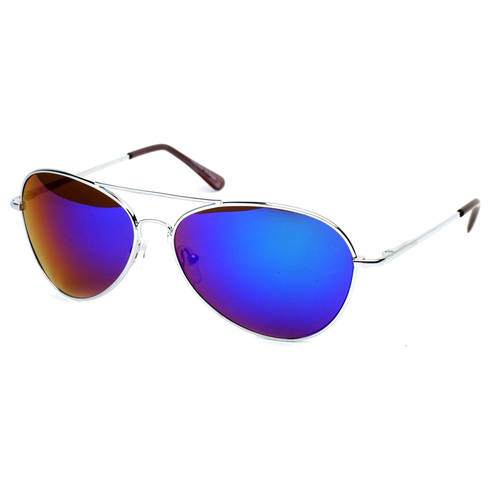 19a37f7519 Retro Flash Color Mirrored Lens Metal Aviator Sunglasses 1485 - zeroUV