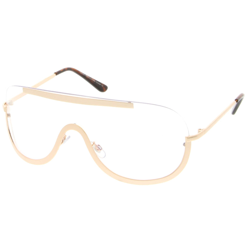 Oversize Disco Rimless Shield Clear Lens Glasses C263