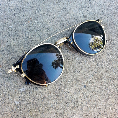 Genuine Madison Vintage Deadstock Steampunk Clip On Sunglasses