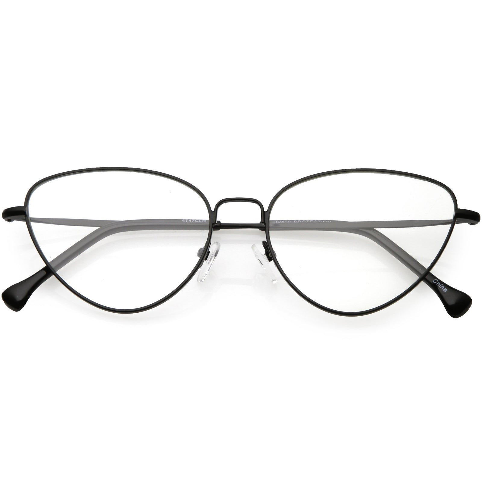 c0ab8ba7b6f6 Women s Slim Metal Wire Clear Flat Lens Cat Eye Glasses C599