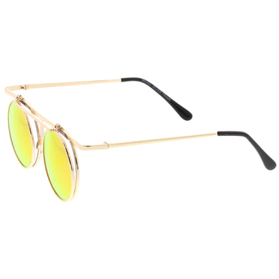 Steampunk Round Mirrored Lens Flip Up Sunglasses A651