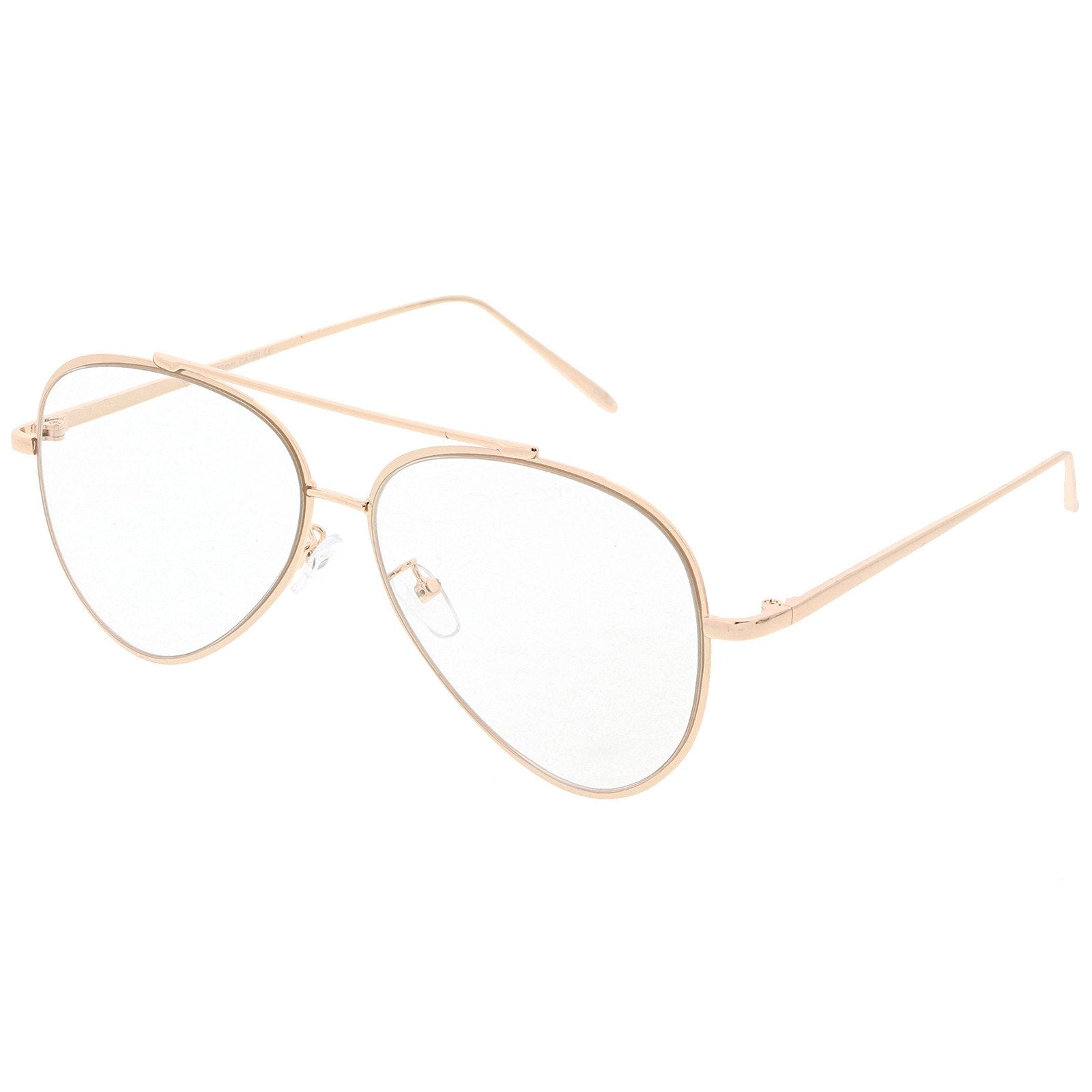 8544904b1ff1 ... Modern Teardrop Clear Flat Lens Glasses 58mm C451 · Gold Clear · Gold  Clear