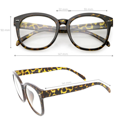 19fd6aa83c Oversize Round Indie Horned Rim Clear Lens Glasses - zeroUV