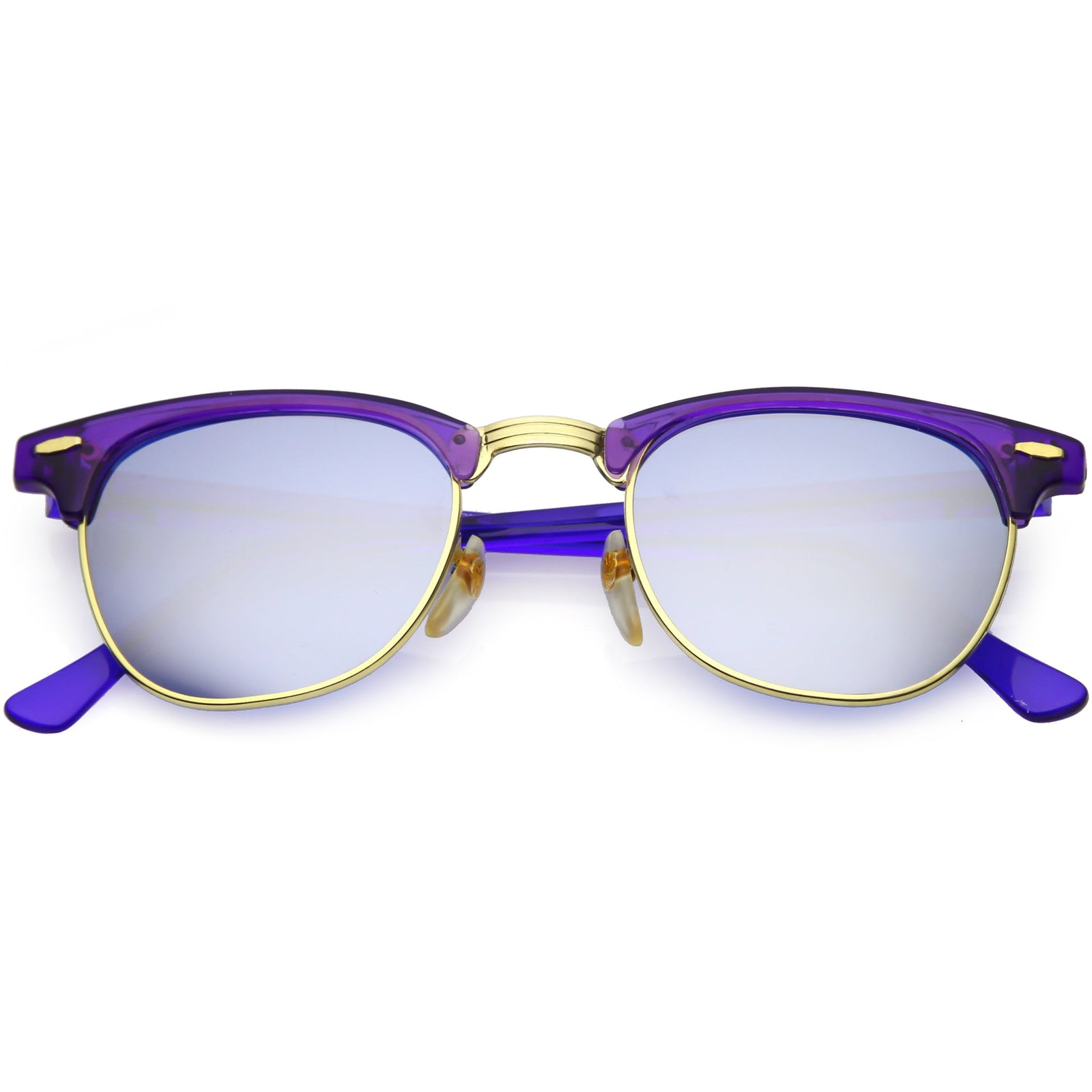 114cc92b194c1 Retro True Vintage Candy Color Half Frame Mirrored Lens Sunglasses C638