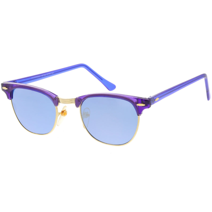bdf71f0a48 Retro True Vintage Candy Color Half Frame Mirrored Lens Sunglasses C638